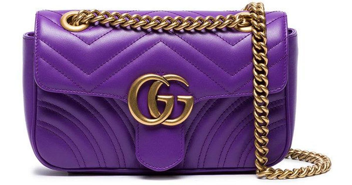 3a9f322af154 Lyst - Gucci Mini Gg Marmont Matelassé Leather Shoulder Bag in Purple