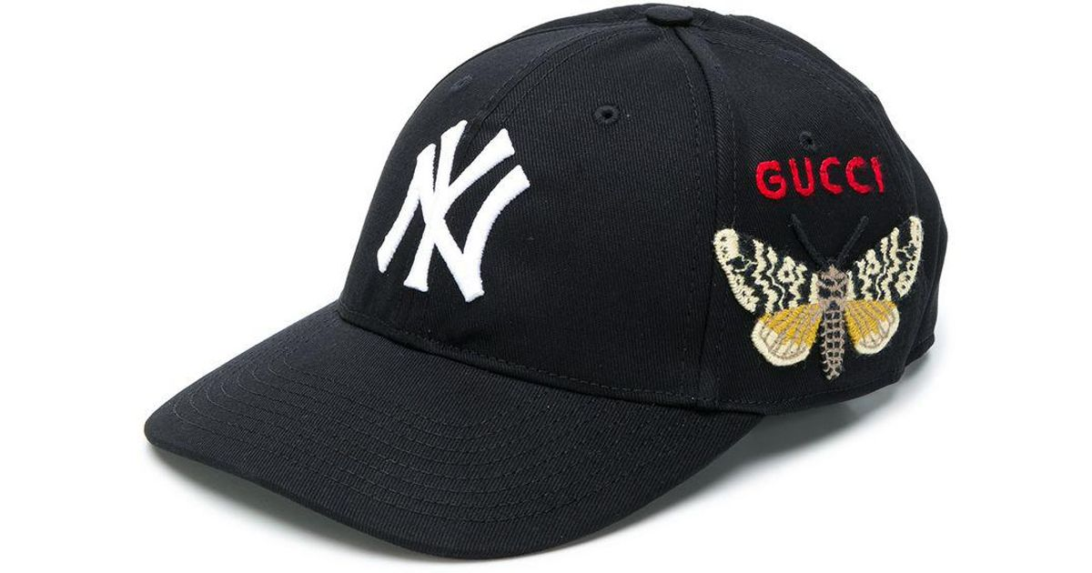 f36018fa426 Lyst - Gucci Ny Yankees Butterfly Baseball Cap in Black for Men