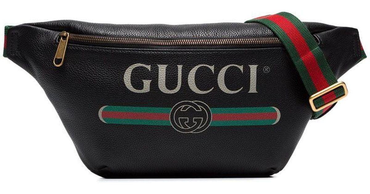 e5ba49d7d5 Gucci Black Fake Logo Print Leather Cross-body Bag in Black for Men - Lyst