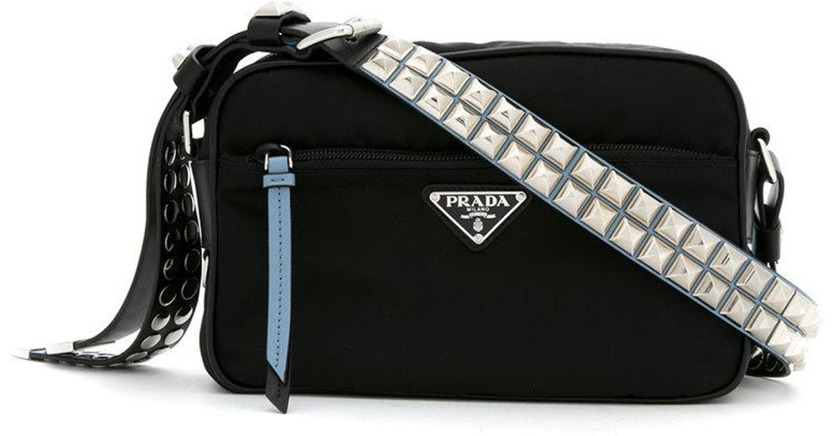 d76b59099436 Prada Studded Crossbody Bag in Black - Lyst