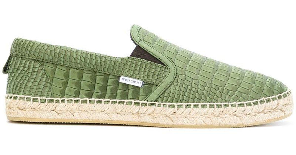9641757e963 Lyst - Jimmy Choo Vlad Croc Printed Espadrilles in Green for Men