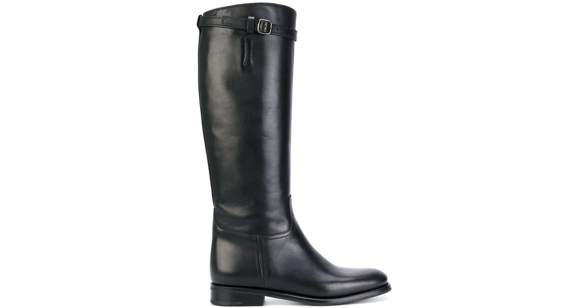 church s knee high buckle boots in black lyst