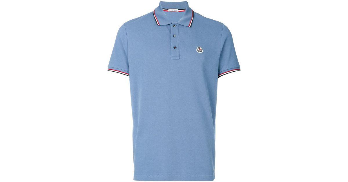 4b8ea18673d8 Lyst - Moncler Tri-tone Trim Polo Shirt in Blue for Men