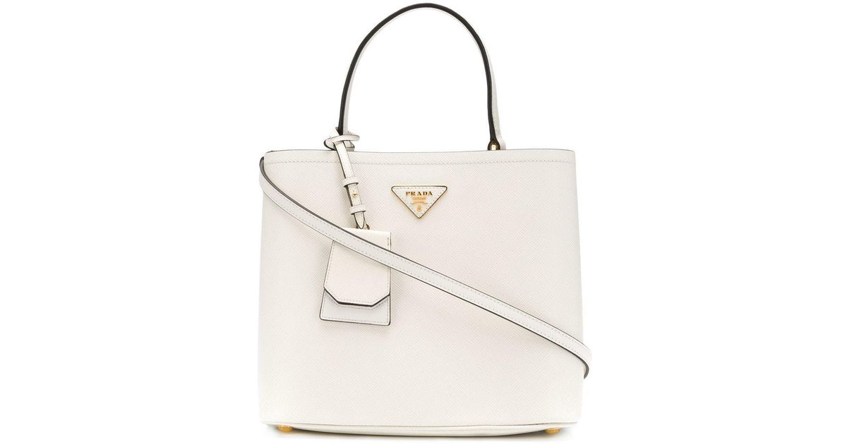 2c33e8f90755 Prada Double Tote Bag in White - Lyst