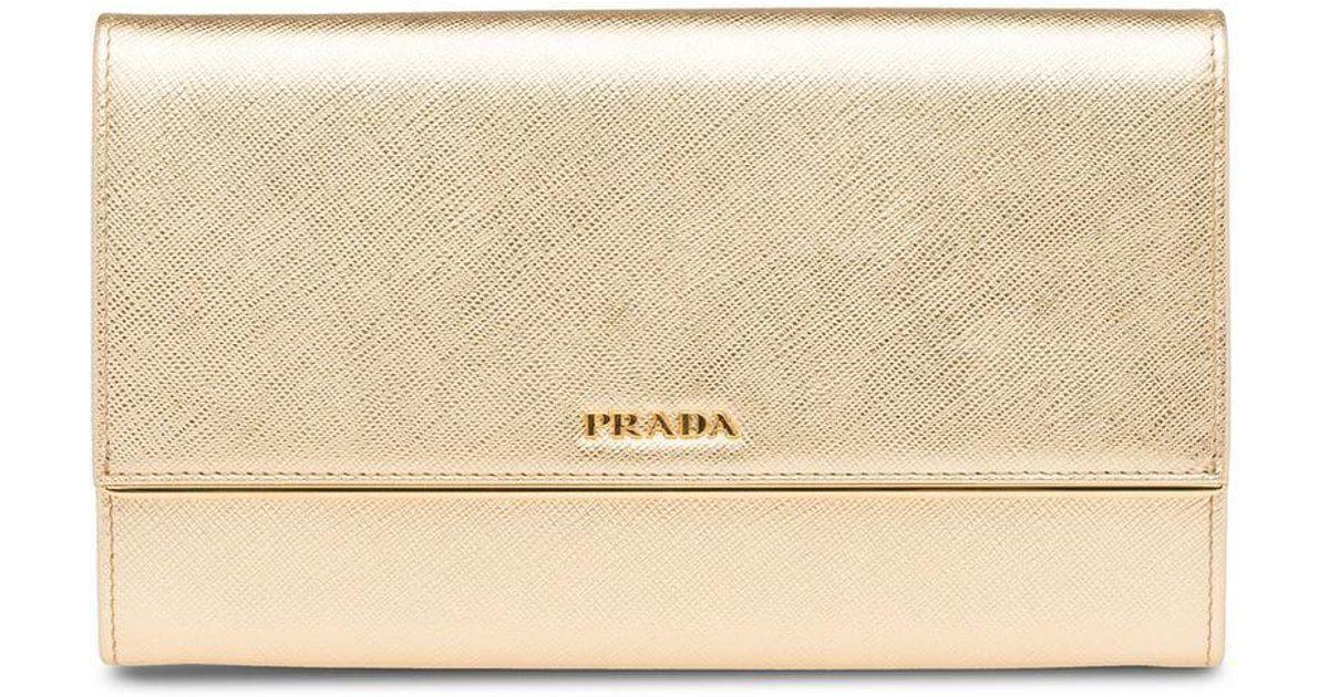 e7b23a073e00 Lyst - Prada Logo Plaque Wallet in Metallic