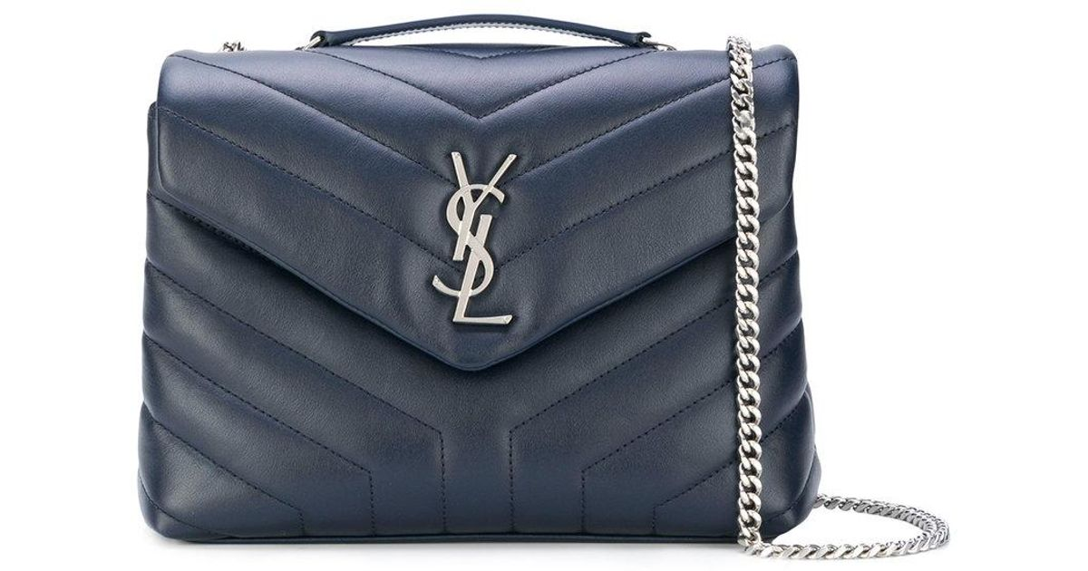Lyst - Saint Laurent Small Loulou Chain Bag in Blue 8f2a7f1227