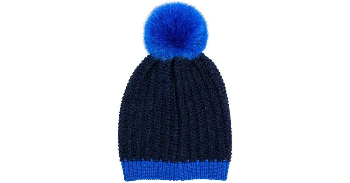 5329d17453a Moncler Knitted Beanie in Blue - Lyst