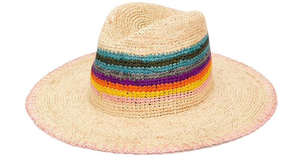 ce508bdf Paul Smith Woven Rainbow Hat in Brown - Lyst