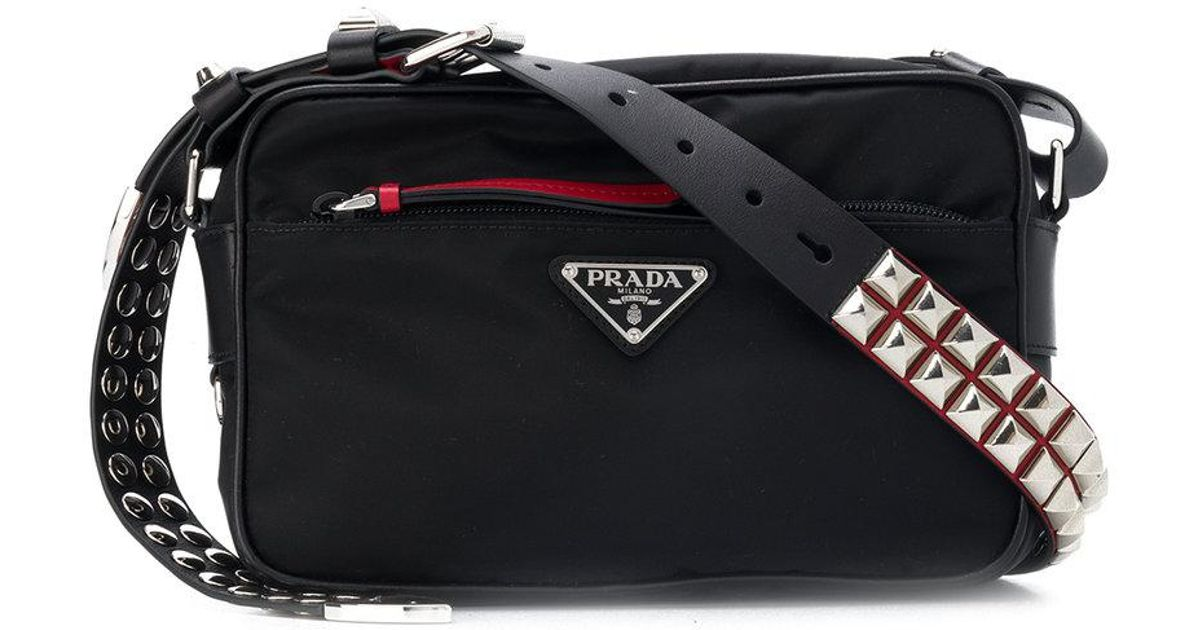 3ea7ddf66835 Prada Studded Crossbody Bag in Black - Lyst