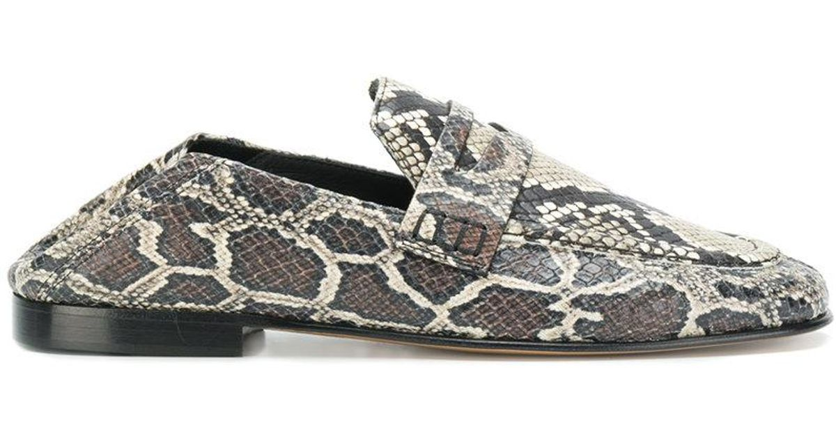 20b3ee9f942 Isabel Marant Fezzy Snake Print Loafers - Lyst