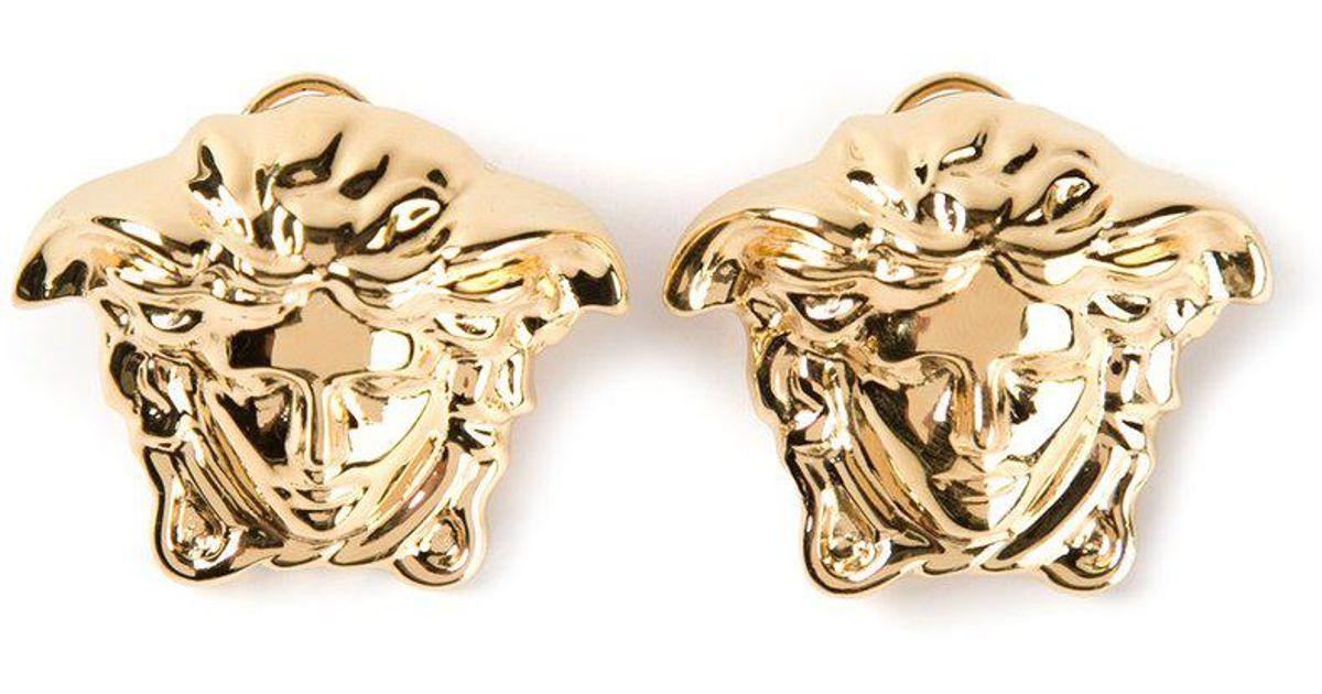 ad366a505 Versace Medusa Head Clip On Earrings in Metallic - Lyst