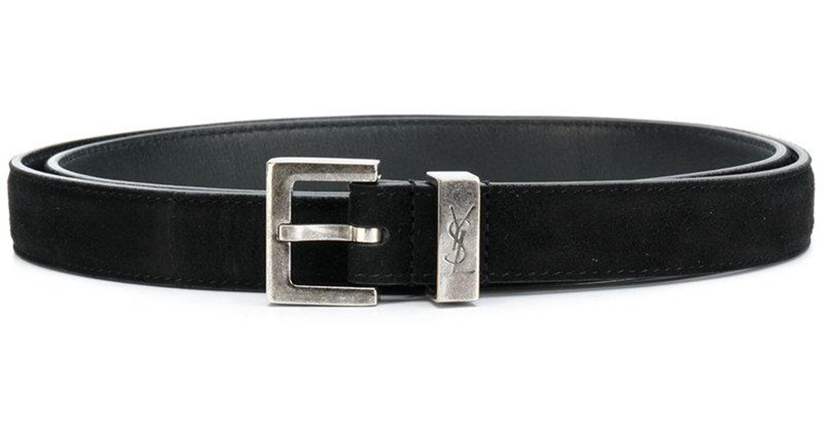 aeb4f85b85c Lyst - Saint Laurent Monogram Passant Buckle Belt in Black for Men