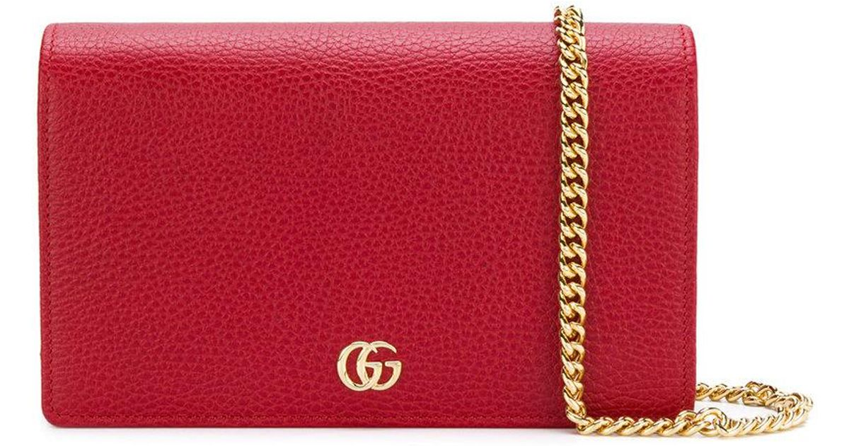 aa6bea0218cced Gucci Gg Marmont Mini Chain Bag in Red - Lyst