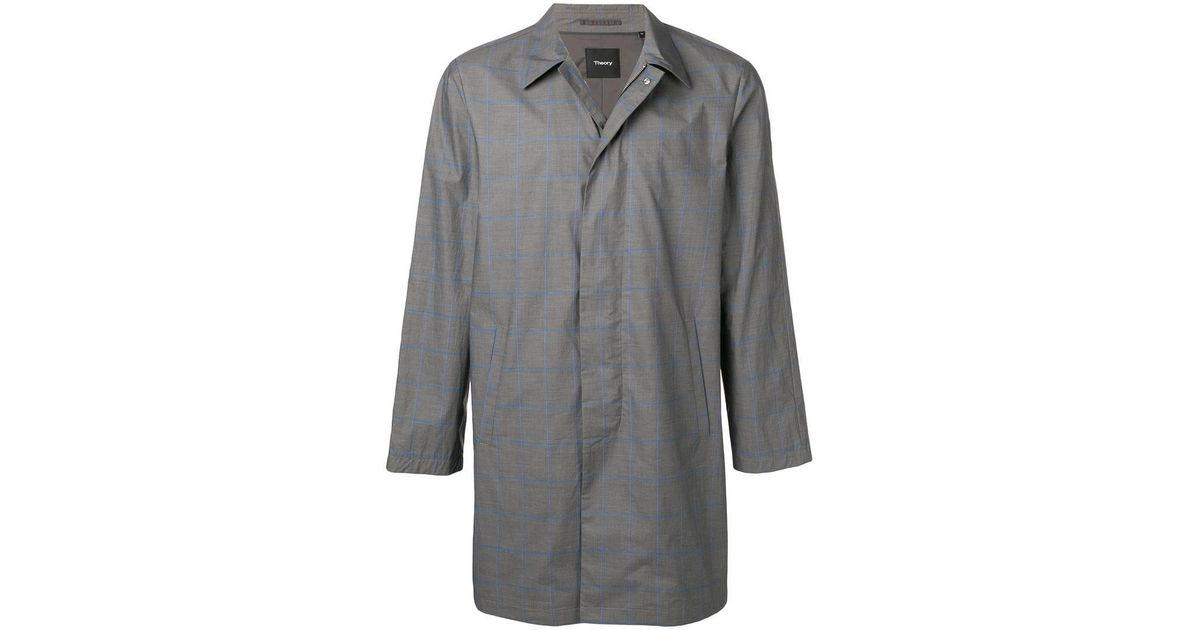 2e91e6c004 Theory Liam Check Coat in Gray for Men - Lyst