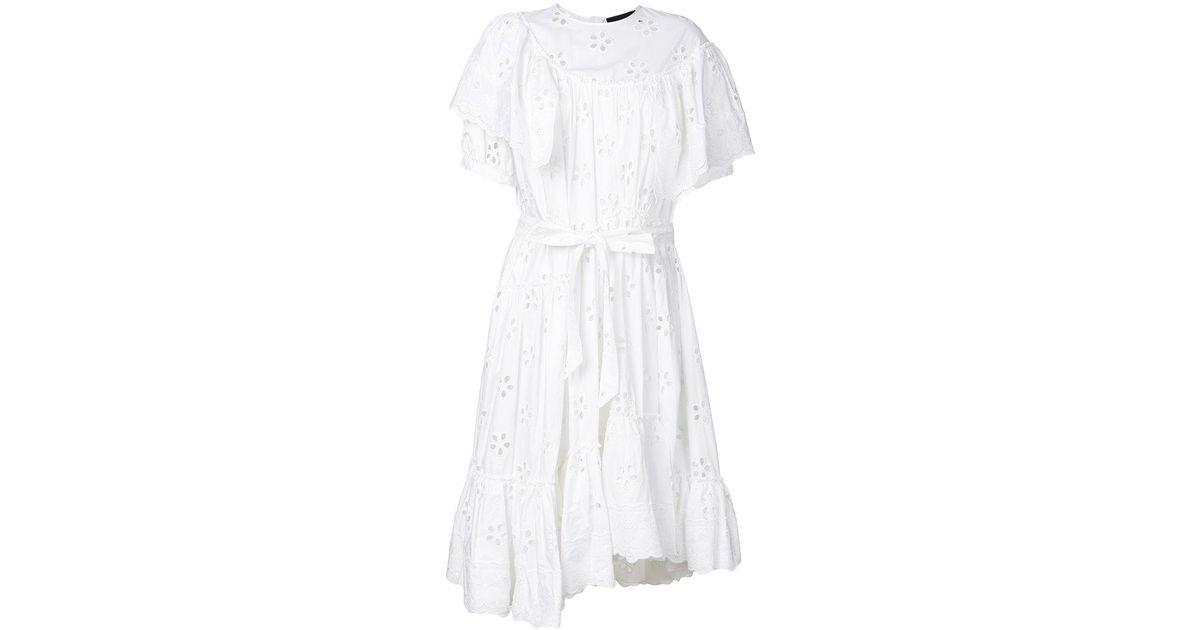 openwork lace ruffle trim dress - White Simone Rocha JRgKJtO5