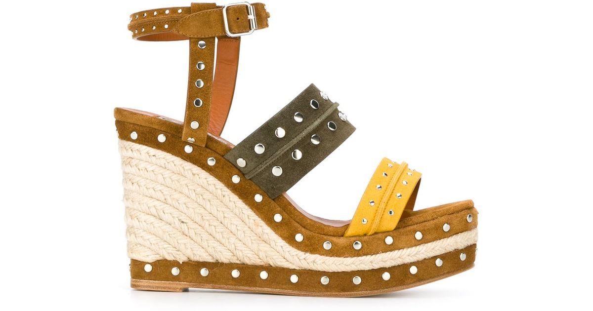 3ddbe660564 Lanvin - Yellow Espadrilles Wedge Sandals - Lyst