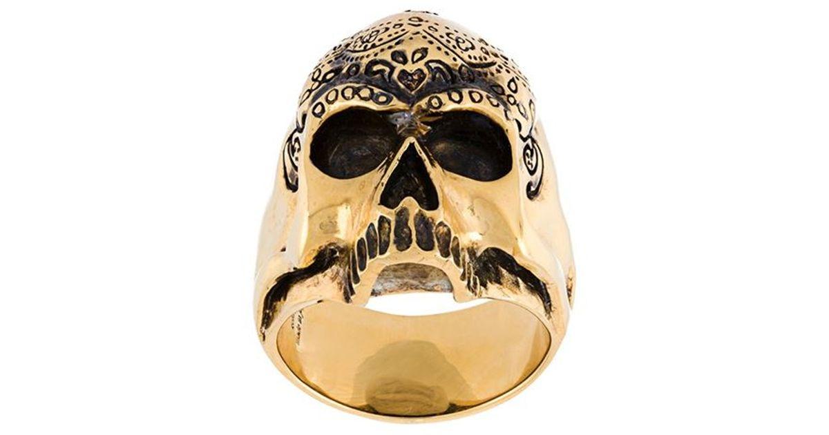 Maison Recuerdo skull rose ring - Metallic mzXpF