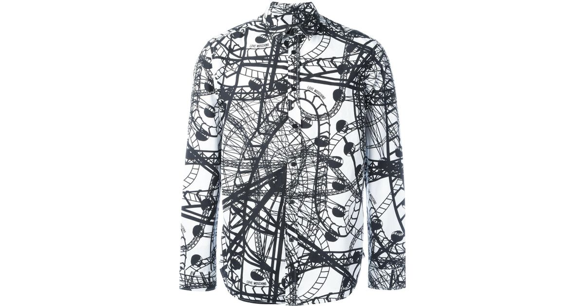 Love moschino roller coaster print shirt in black for men