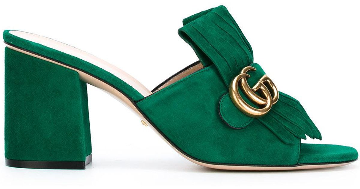 ea5521b2ae5 Gucci Marmont Gg Kiltie Suede Block Heel Mules in Green - Lyst