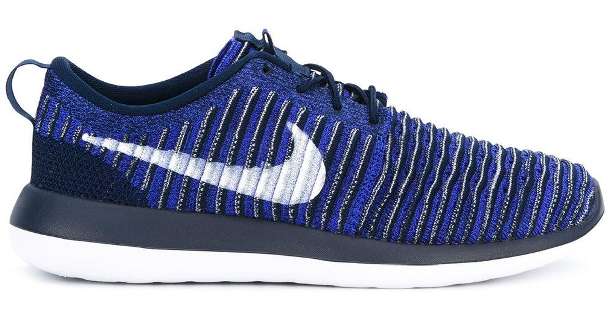 new concept 1621a 6bc85 Nike Roshe Two Flyknit Sneakers in Blue - Lyst