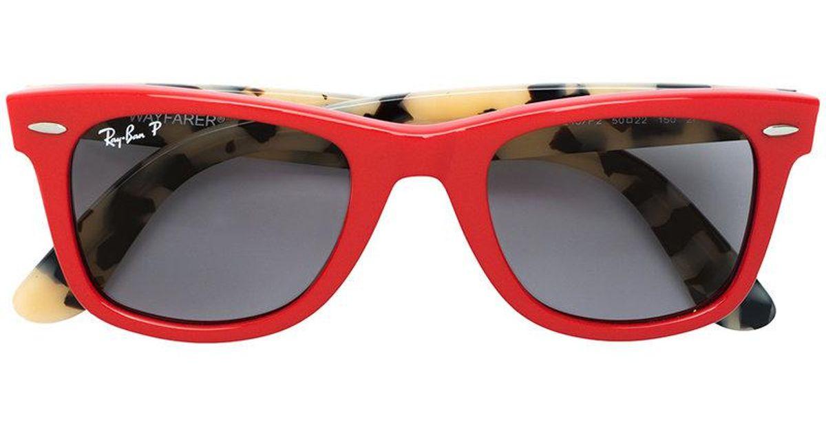 e818e2f6b6854 ... wholesale ray ban wayfarer polarized sunglasses in red lyst a6379 54eb8