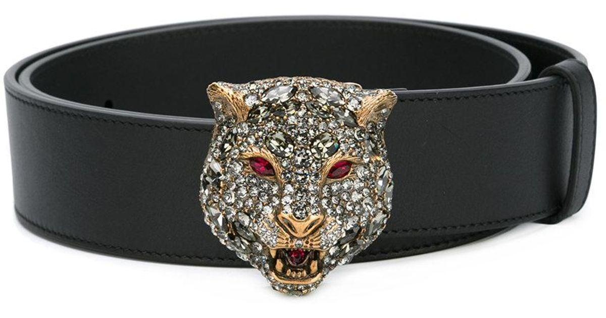lyst gucci tiger embellished belt in black