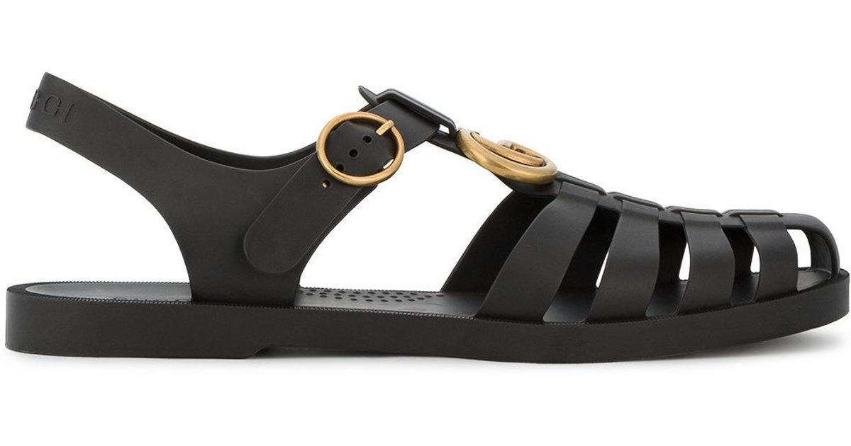 44a949b68b7d Lyst - Gucci Buckle Strap Jelly Sandals in Black for Men