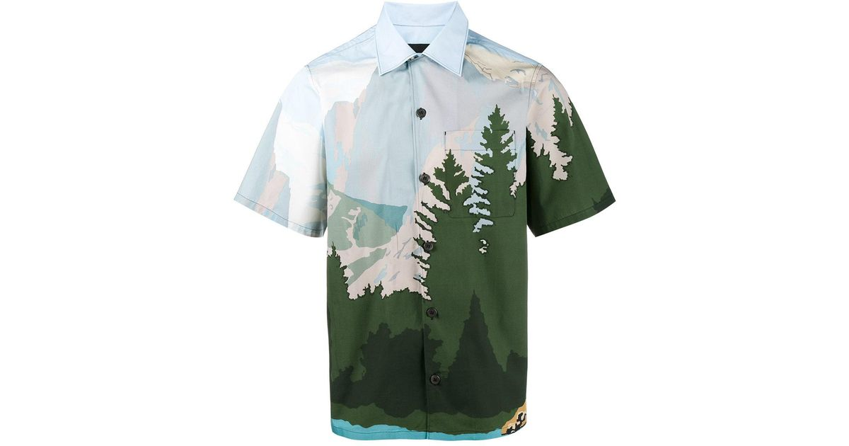 5d66edabf950 Lyst - Prada Mountains Printed Bowling Shirt in Green for Men