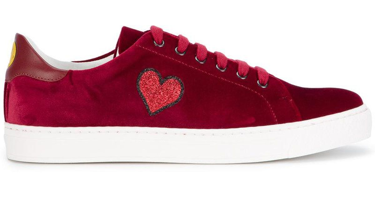 Burgundy Suede Glitter Applique Sneakers - Red Anya Hindmarch Free Shipping Supply Classic Cheap Online Cheap Sale 100% Guaranteed Cheap Sale Shopping Online Outlet Amazing Price mk0kTtgZxM