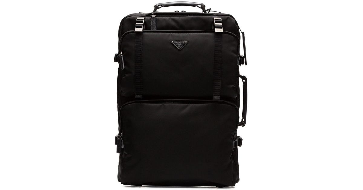 751dc7aeddb209 Prada Logo Plaque Cabin Trolley in Black for Men - Save 37% - Lyst