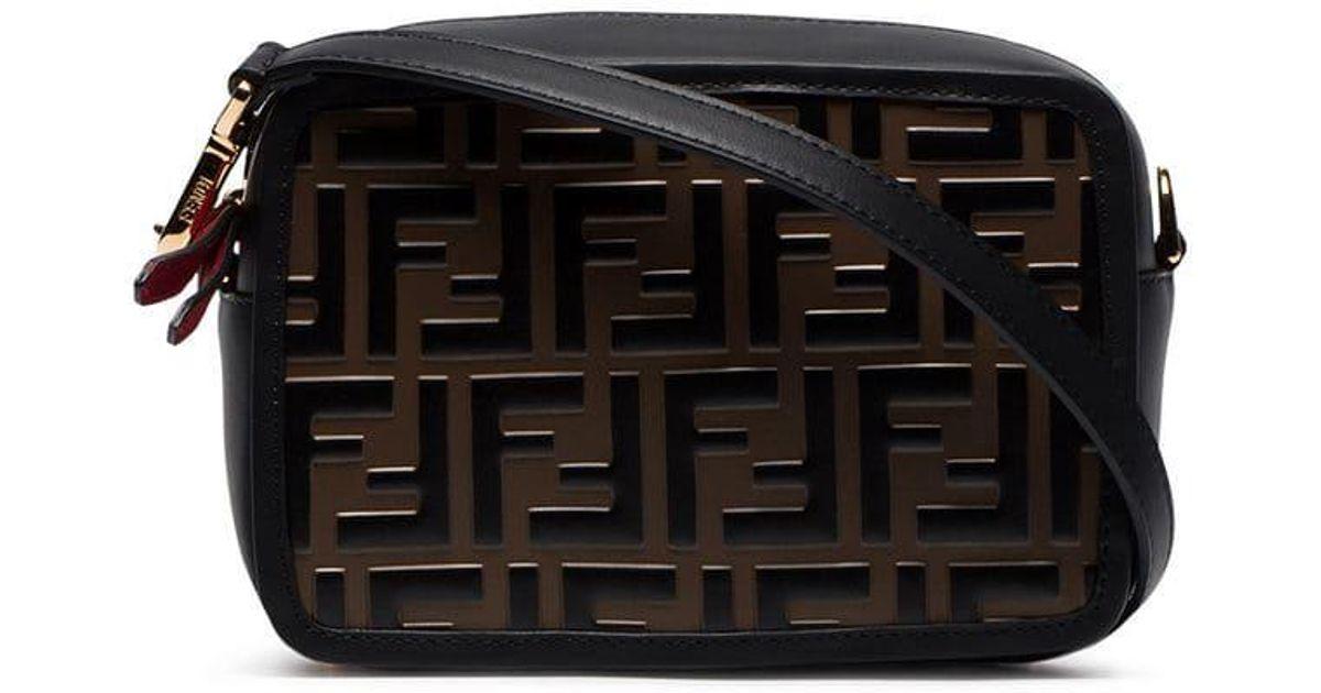 Lyst - Fendi Black And Brown Ff Logo Mini Leather Camera Bag in Black 096a33ef1af1c
