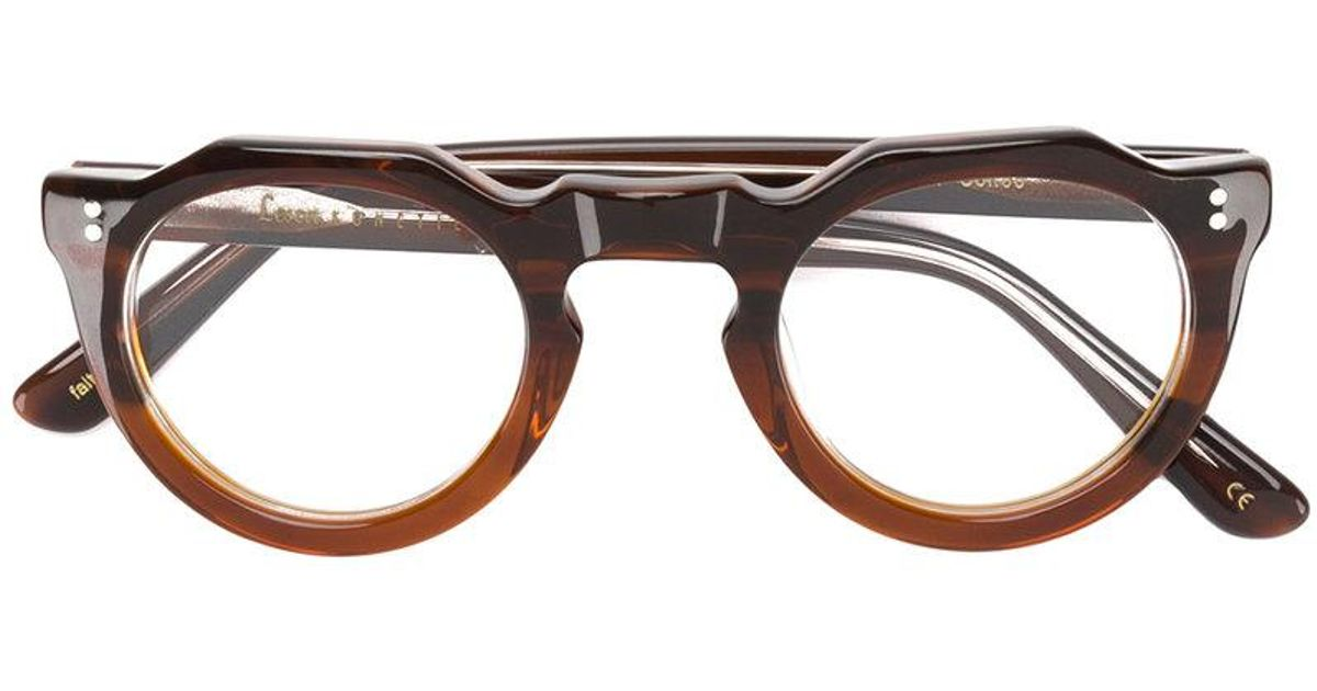 d74ffa6d67 Lesca Classic Round Glasses in Brown - Lyst
