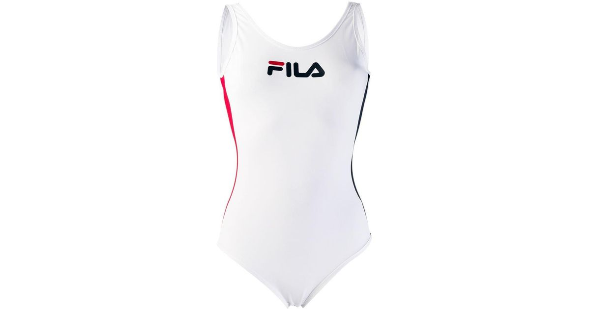 889bc01ff9459 Fila Jackie Logo Print Swimsuit in White - Lyst