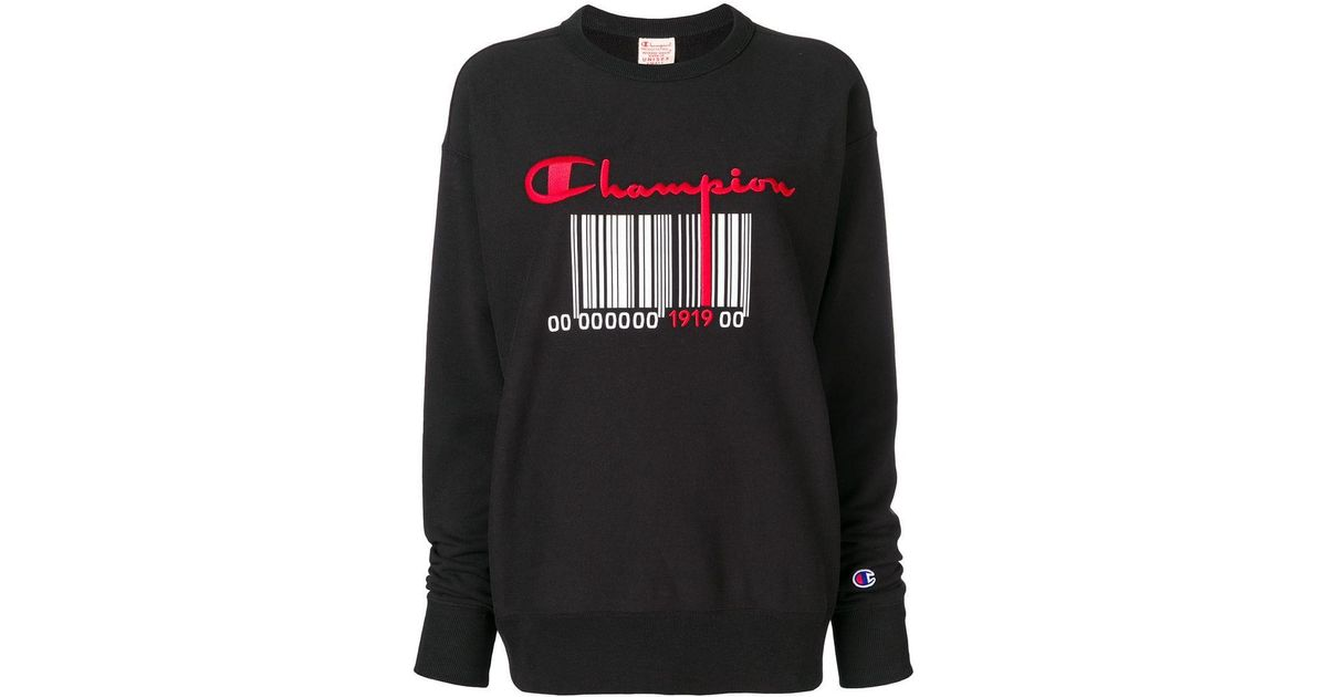 5199c24b Champion Barcode Logo Sweatshirt in Black - Lyst