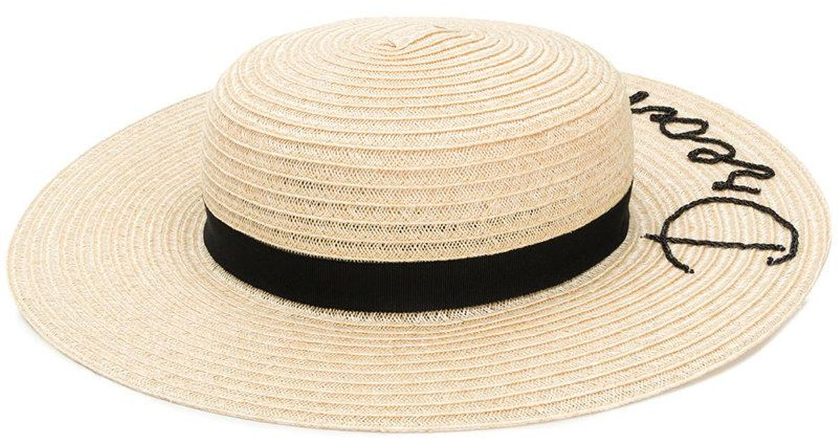 Lyst - Eugenia Kim Slogan Embroidered Sun Hat in Natural 72bb6ac0d81