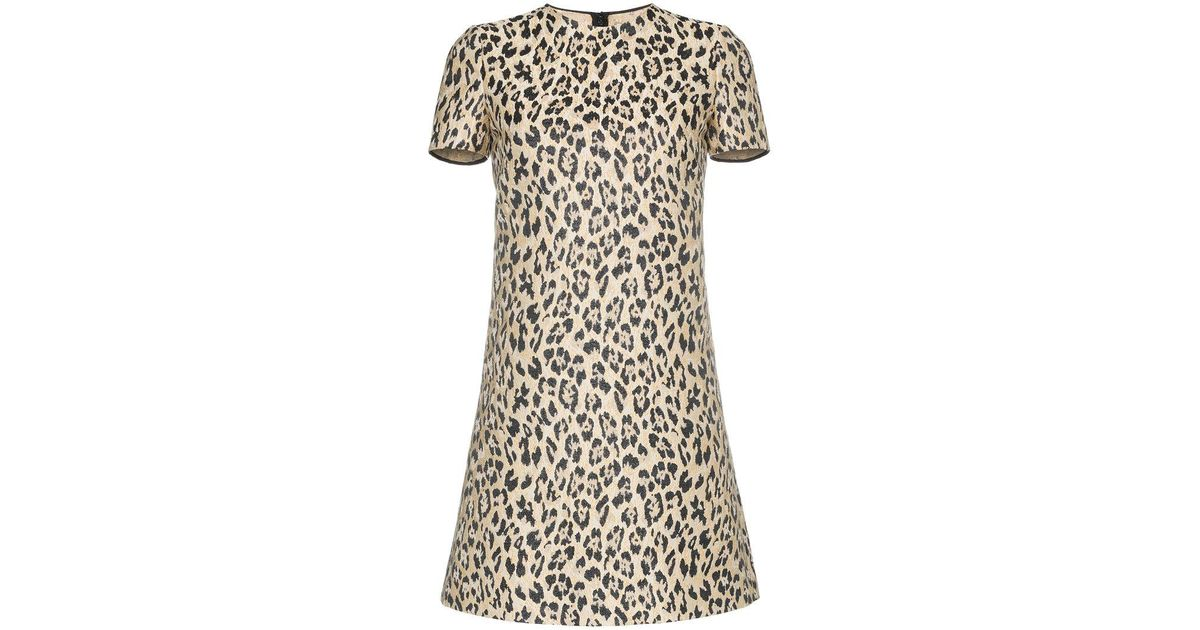 leopard brocade silk blend mini dress - Brown Valentino Pick A Best Sale Lowest Price Outlet xkgdIvm