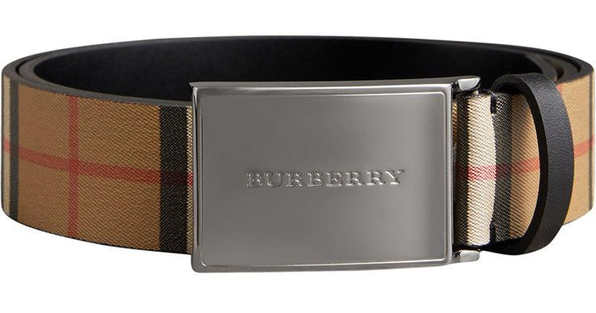 778ab11cd76b Burberry Plaque Buckle Vintage Check Leather Belt in Black for Men - Lyst