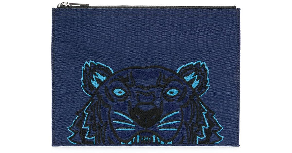 69c1d23041 Kenzo Tiger Canvas Clutch in Blue for Men - Save 47.93388429752066% - Lyst