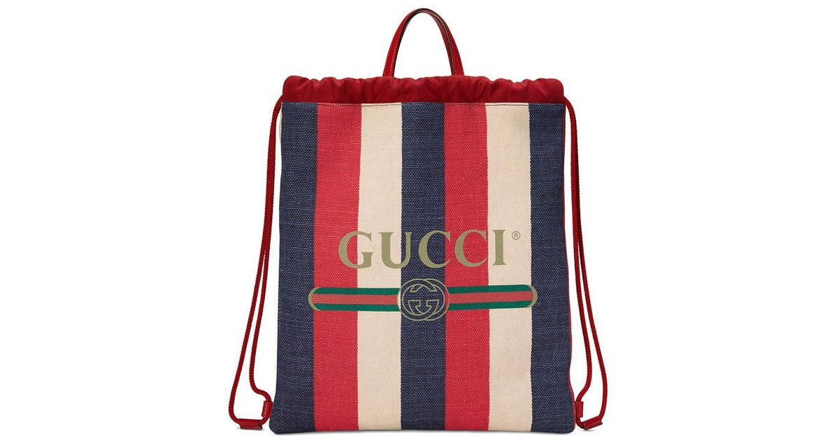 454fe5323d18 Lyst - Gucci Print Medium Drawstring Backpack in Red for Men