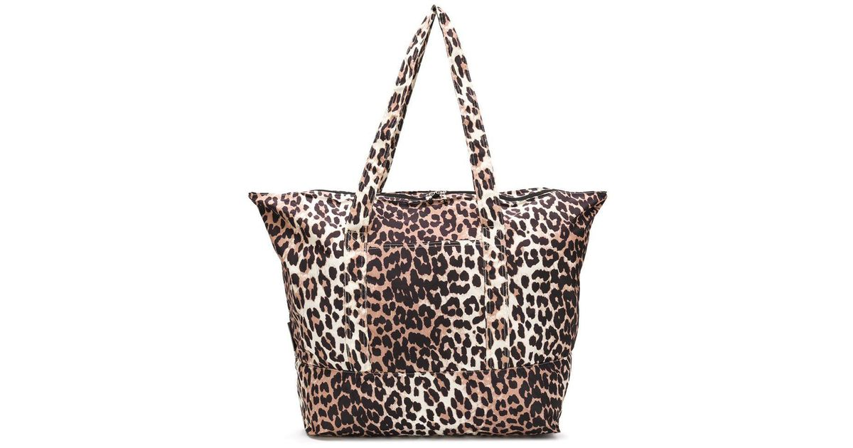 f43748aa278e Ganni Leopard Tote Bag in Brown - Lyst