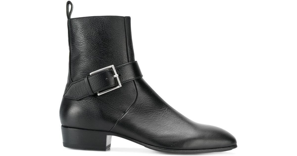 lyst represent buckled fitted boots in black