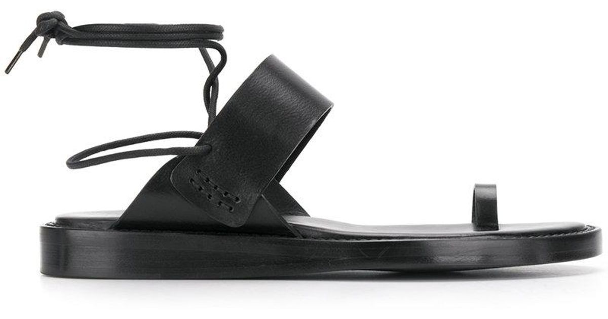 7be94c51dfd9 Lyst - Ann Demeulemeester Wrap-around Lace-up Sandals in Black