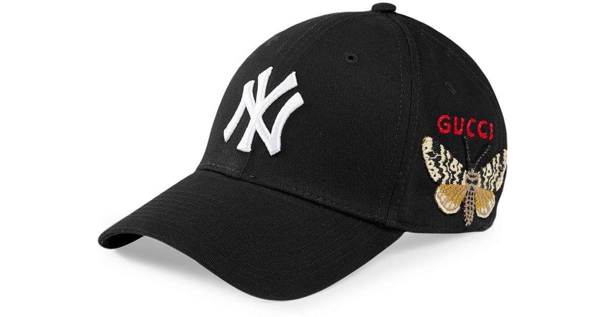 Lyst - Gorra de béisbol con parche NY YankeesTM Gucci de hombre de color  Negro 58298a19f45