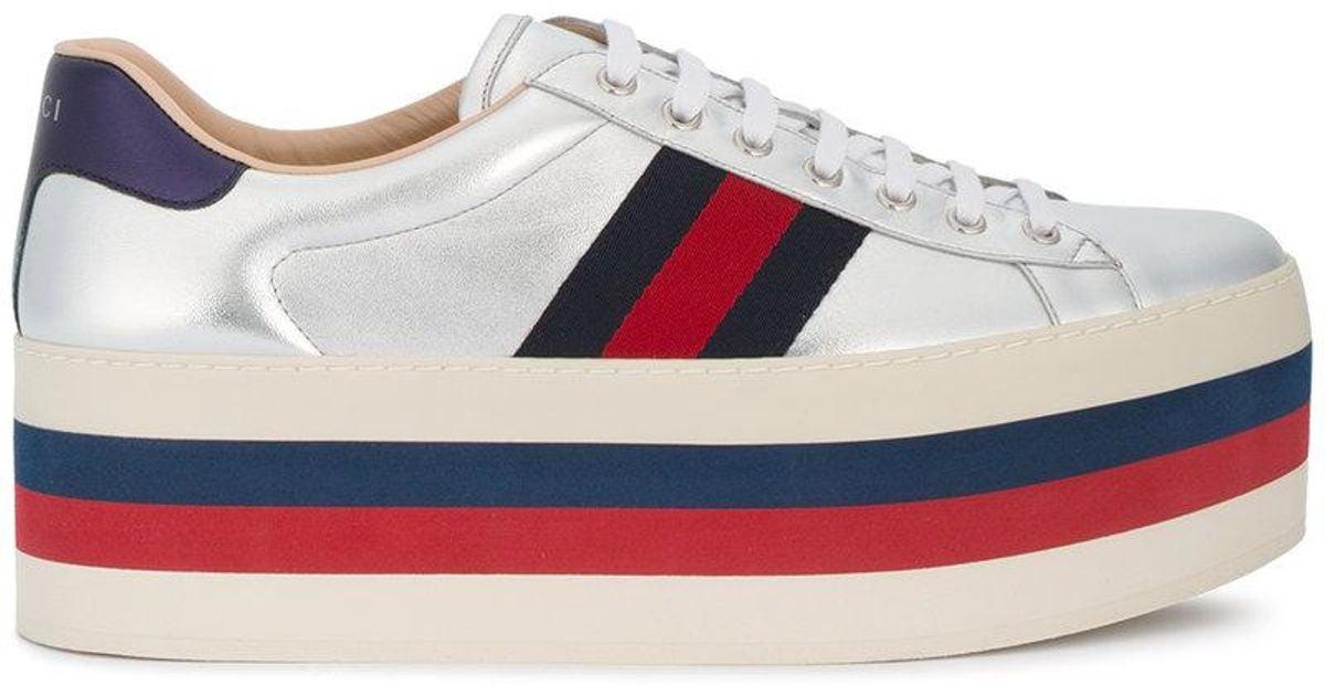 Gucci De Chaussures De Sport De Plate-forme Web Cru - Métalliques 0mTNg