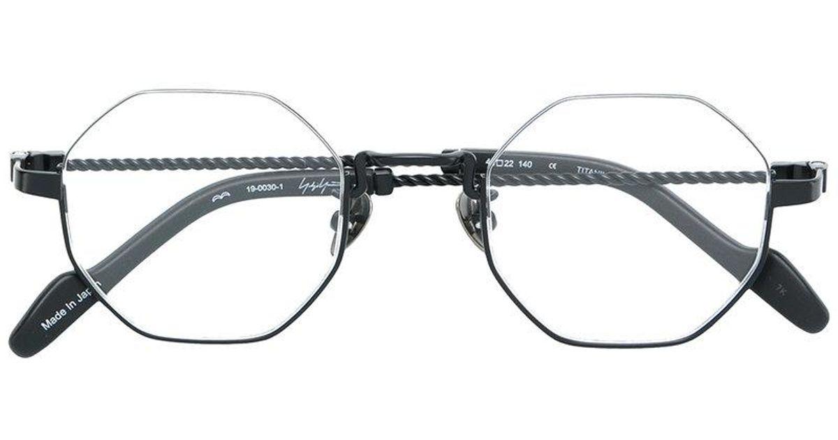 62422c6bbc Yohji Yamamoto Hexagon Frame Glasses in Black - Lyst