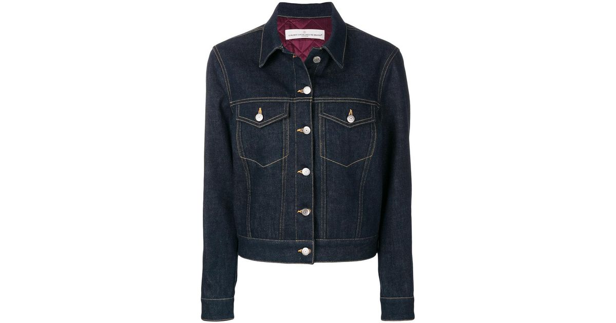 lyst golden goose deluxe brand stitched denim jacket in blue for men