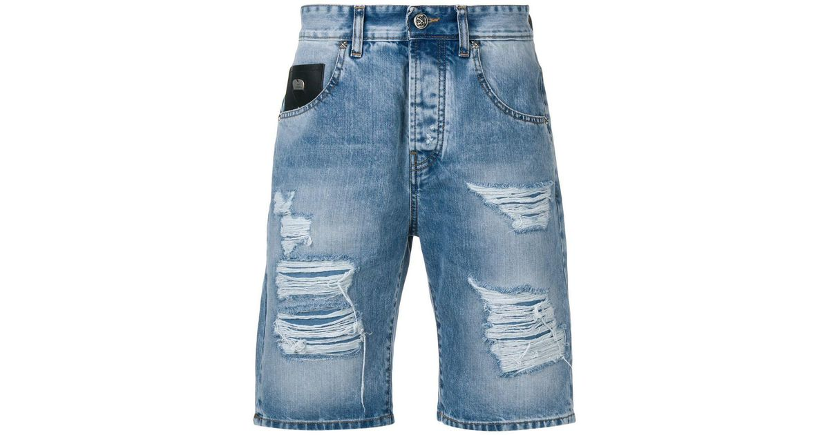 087fe2a6eb Lyst - John Richmond Distressed Denim Shorts in Blue for Men