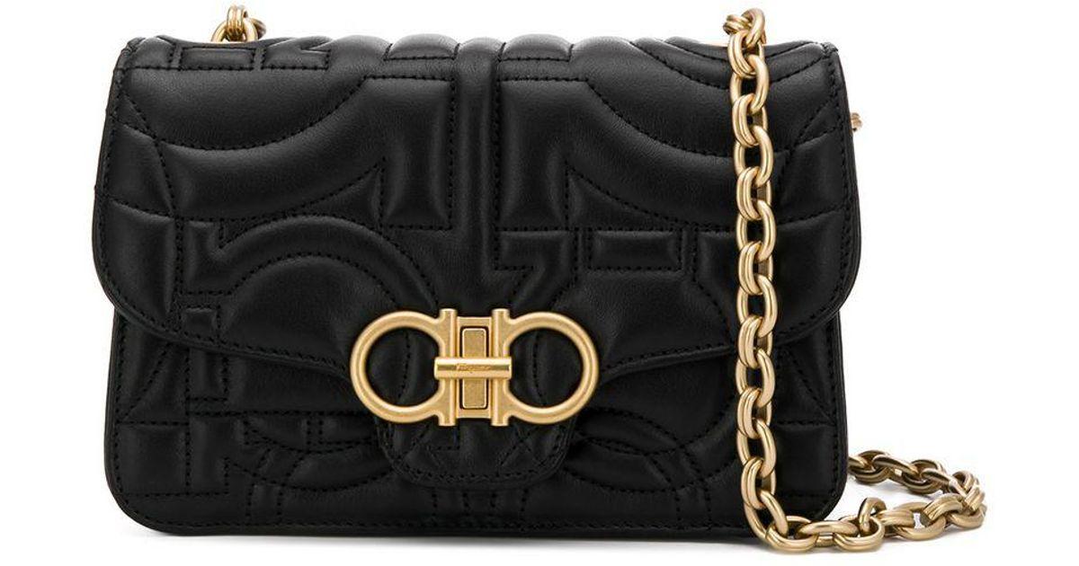 Lyst - Ferragamo Quilted Flap Bag in Black 4c5ea24620555