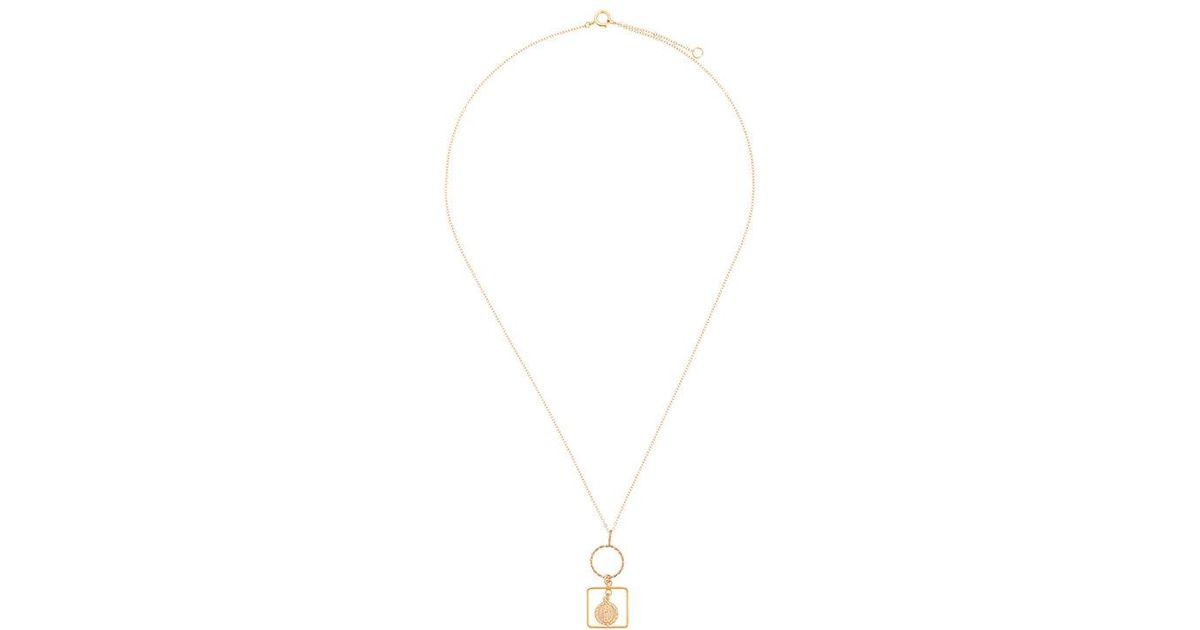 PetiteGrand circle and frame necklace - Metallic V24I0Lx
