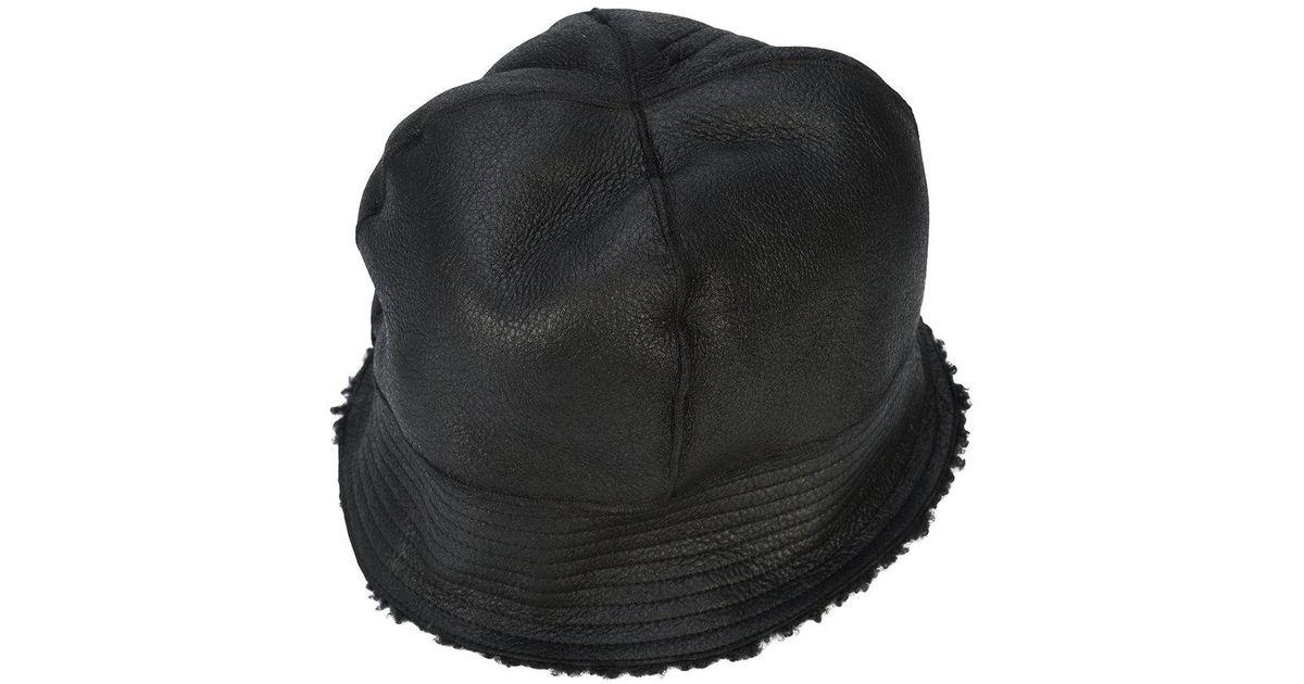 989e28b1df7 Lyst - Rick Owens Shearling Lined Bucket Hat in Black